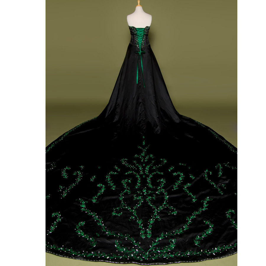 Hot Sale Embroidery Vintage Gothic Wedding Dress Real Photo Black ...