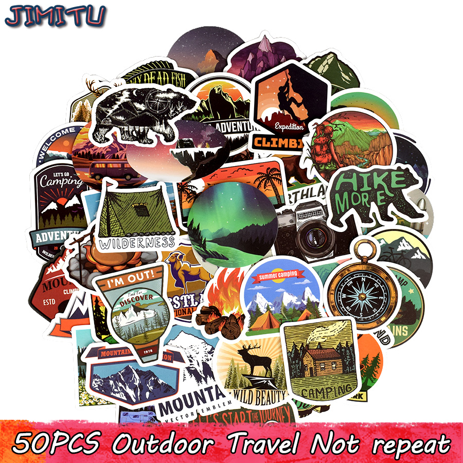 50 PCS Outdoor Adventure Stickers Explore Nature Climbing Camping Travel Waterproof Sticker For DIY Laptop Cup Travel Case Bike