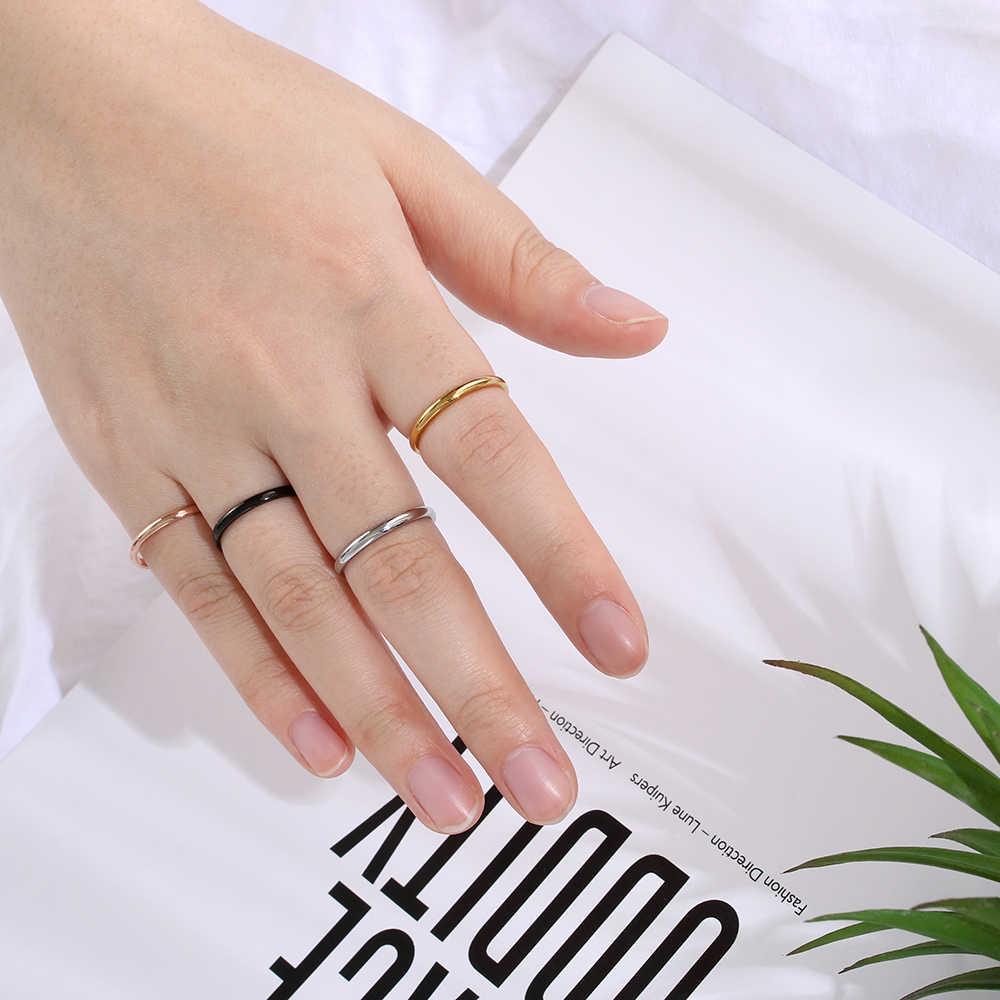 Simple 2mm แหวนสแตนเลส Finger Knuckle แหวนธรรมดาสำหรับหญิงสาวเครื่องประดับขนาด 3-10