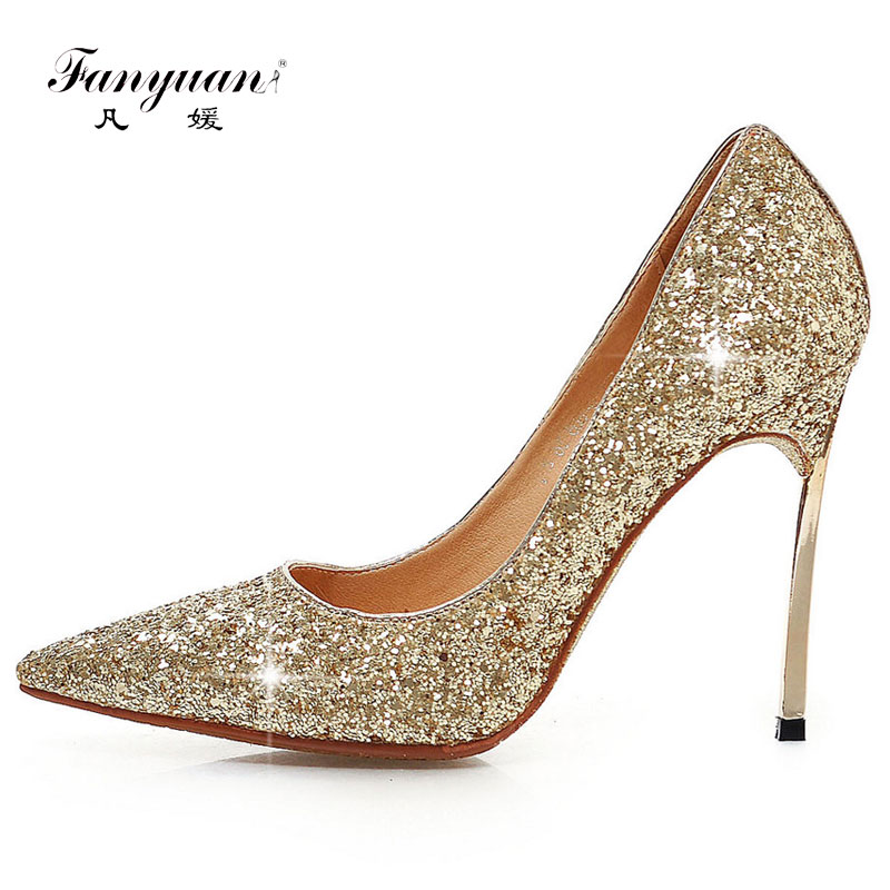 Fanyuan Spring Autumn Basic Super High Heels Bling Thin Heels Women Pumps Party Weddding Shoes Pointed