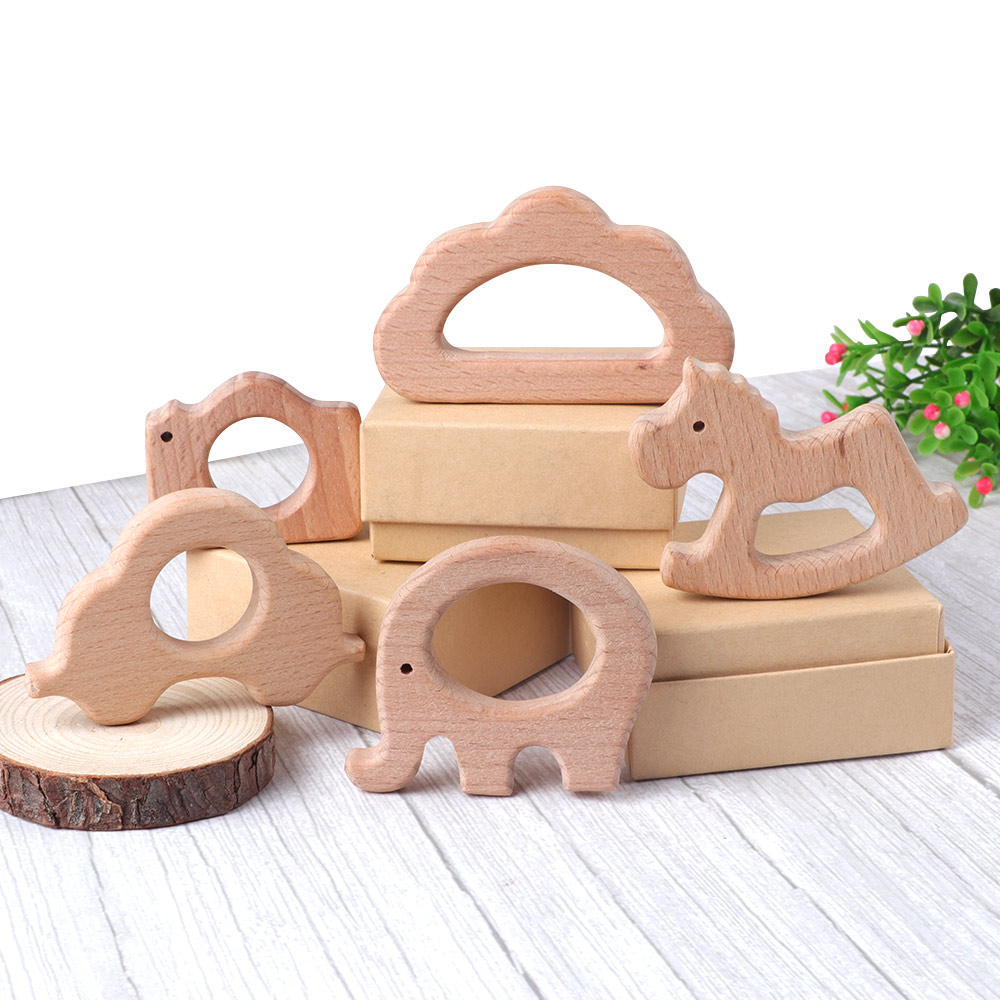 TYRY.HU 1PC Wooden Teether Baby Teething Toy Animal Elephant Shap Wood Ring Non-Toxic Natural Wood Teether Bracelet Pendant