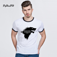 PH Game Of Thrones T Shirts Men Wolf Print O Neck Ringer Hipster Tops Winter Is