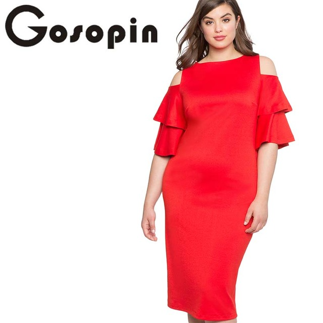 bb44a1497f6e1 Gosopin Office Dress Plus Size Cold Shoulder Ladies Dresses Flounce Sleeve  Fashion Midi Party Elegant Autumn Summer Dress 610319-in Dresses from ...