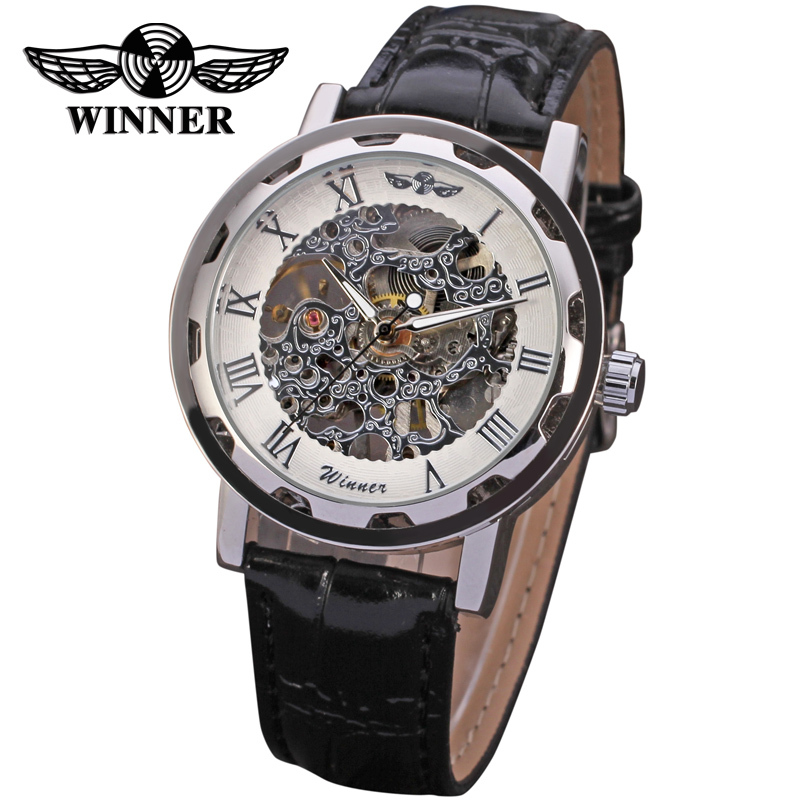 Winner Men's Watch Mechanical Movt Transparent Crystal Leather Strap Stylish Analog Fashion Wristwatch Color White WRG8008M3S1 stylish elastic string crystal bracelet of the east china sea transparent white