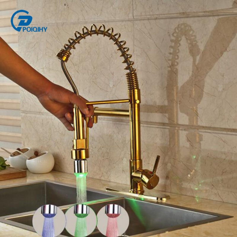 Golden Brass Kitchen Hot and Cold Water Taps Mixer Tap with LED Light + 8 Hole Cover Plate Single Handle Pull Down Kitchen
