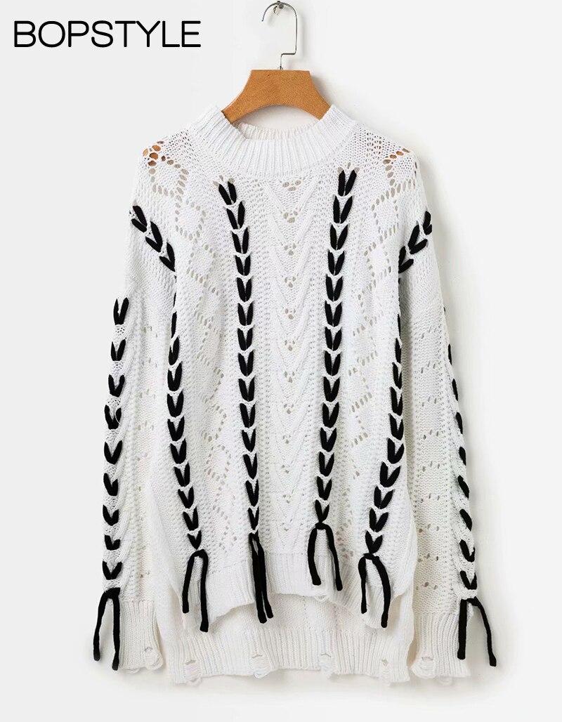 Détail Et 2018 Contraste Noir Femmes Twisted F Avec Nouvelles Chandail Couleur blanc Knit Noir blanc w Cordon Déchiré Évider Pulls Cable CeWQrBodx