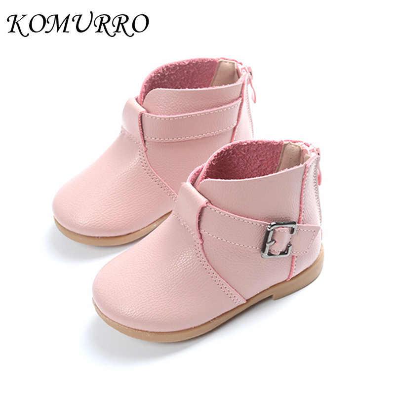 0bc031fc27 Zapatos de niña Botas de cuero primavera nueva princesa tobillo Zip botas  Niña moda Niño primavera