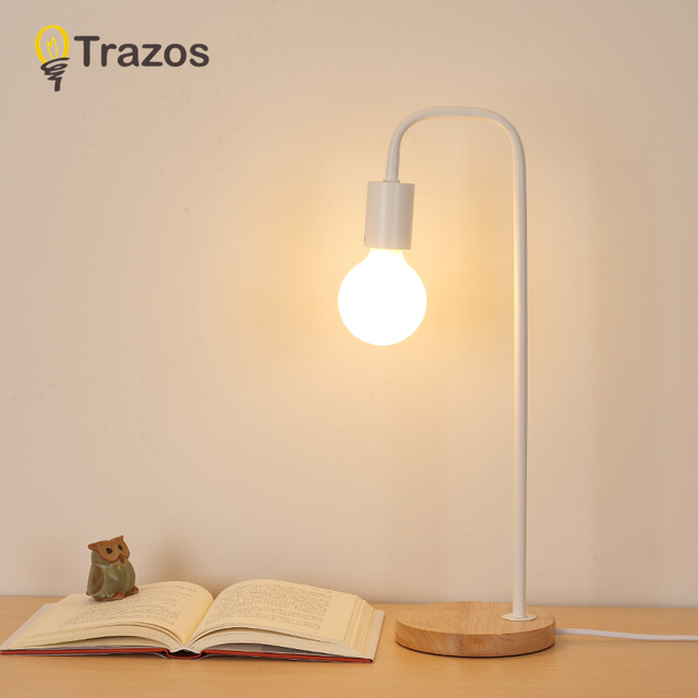 Us 46 04 20 Off Modern Table Lamp Wooden Base Book Lights Desk Night Light E27 Holder Mini Retro Bedside Lamp La Lamparas For Home Bedroom Decor In