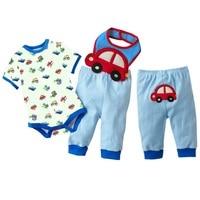 Moda 100% vestiti del bambino del cotone monopezzo auto ragazzi magliette e camicette pantaloni asciugamano set manica corta vestito del corpo pp pant bavaglini