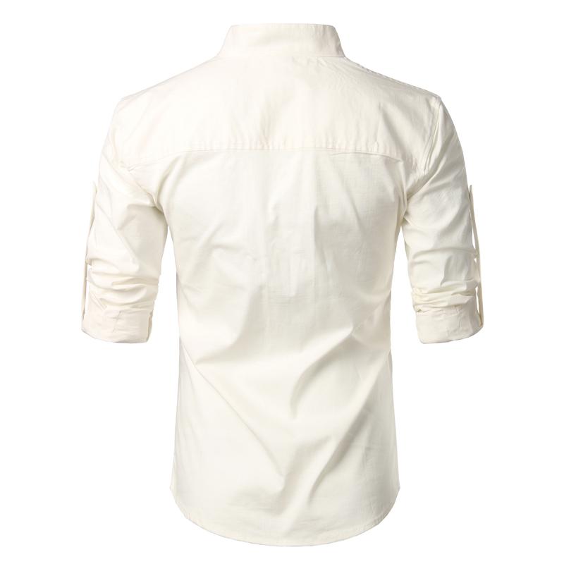 Tunique col Mao blanc cassé, manches longues, avec poche, vue de dos