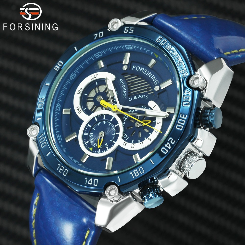 FORSINING Blue Mens Watches Top Brand Luxury Auto Mechanical Watch Men 3 Sub-dial 6 Hands Chronograph Sports Casual WristwatchFORSINING Blue Mens Watches Top Brand Luxury Auto Mechanical Watch Men 3 Sub-dial 6 Hands Chronograph Sports Casual Wristwatch