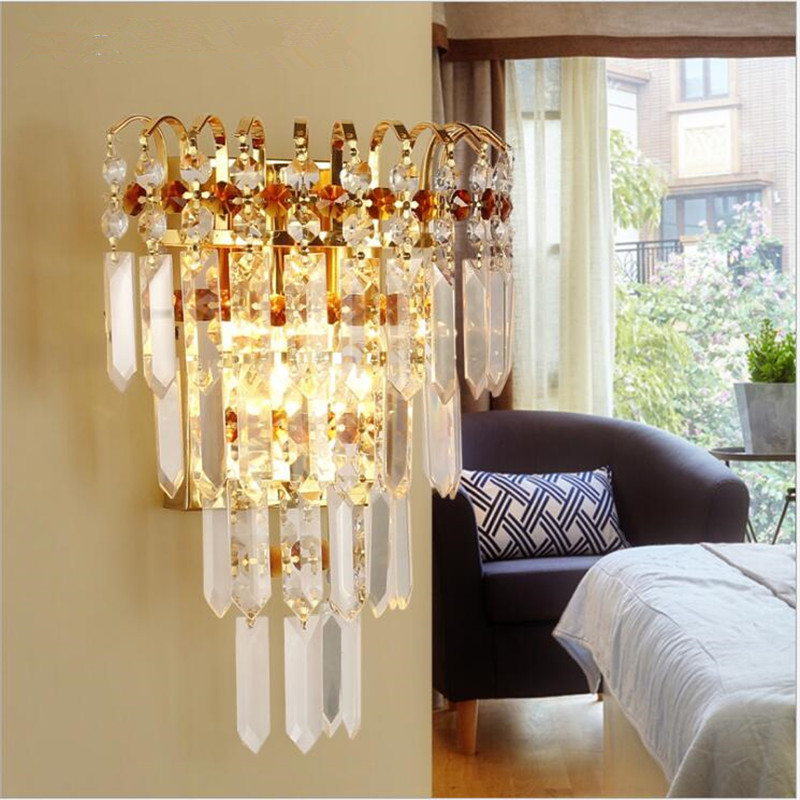 LED Wall Lamp Modern Crystal Metal Indoor Lighting Europe ...