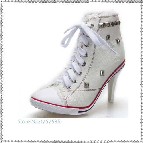 3a21b653dd5a ٩( ‿ )۶2017 женские туфли с заклепками Обувь на высоком каблуке ...