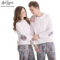 SpaRogerss Winter Pajama Sets 2017 Brand New Coral Fleece Women Pajamas Pants Set Couple Pajamas Sleep