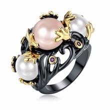 superior anillo CZ perlas
