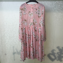 Summer Floral Dress Print Women Long Sleeve Elegant 2018 Pink Pleated Casual