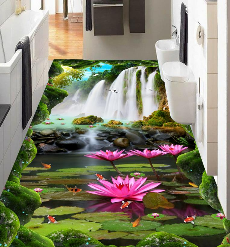3d floor tiles Custom pvc self adhesive wallpaper Waterfall lotus carp 3d flooring 3d wallpaper living room horse wallpaper free shipping 3d carp lotus pond lotus flooring painting tea house study self adhesive floor wallpaper mural