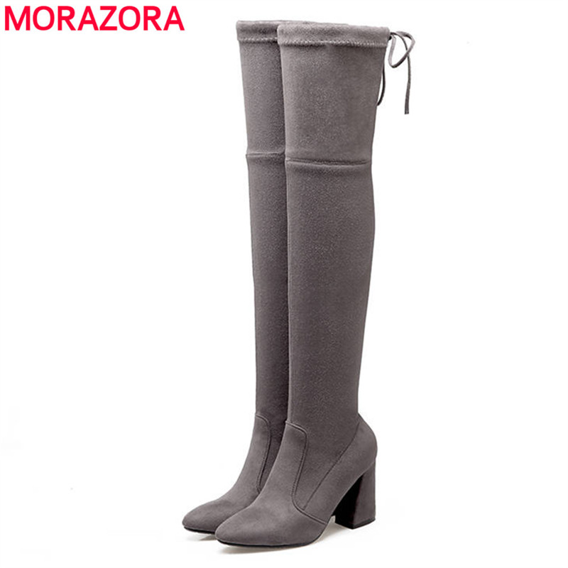 MORAZORA 2018 Newest thigh high boots pointed toe flock autumn winter boots women solid color high heels over the knee bootsMORAZORA 2018 Newest thigh high boots pointed toe flock autumn winter boots women solid color high heels over the knee boots