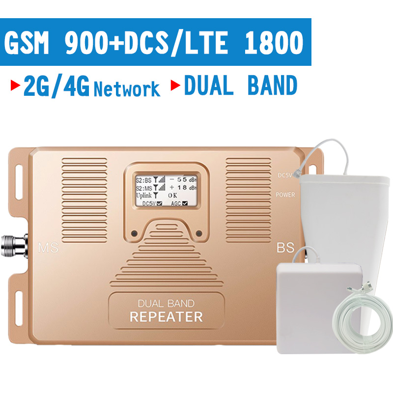 Walokcon GSM 900 1800 2G 3G 4G LTE Signal Repeater 900 4G LTE DCS 1800 Cellular Signal Booster 4G Amplifier 70dB Gain LCD AGC