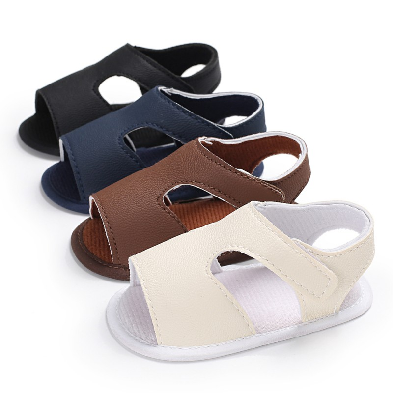 Newly Baby Boys Girls Sandals Toddler Solid Color Slip-On Shoes Summer Baby PU Leather Sandals 0-18Months