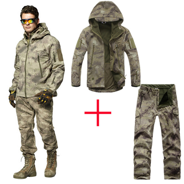 e36ca9bccd3f1 TAD 4.0 Shark Skin Soft Shell Camouflage Hunting Clothes Suits Outdoor  Tactical Military Fleece Jacket+ pants