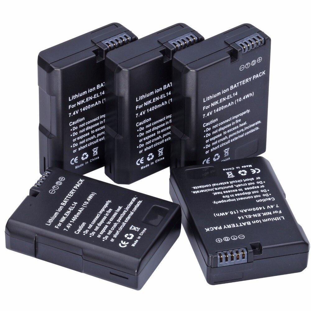 5 pièces Probty EN-EL14 EN-EL14a EL14 Batterie pour REFLEX NUMÉRIQUE NIKON D5300 D5200 D5100 D3300 D3200 D3100 P7800 P7700 P7100 P7000 Df Caméra