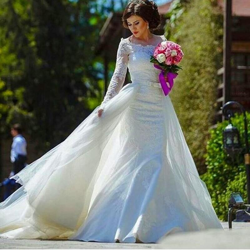 Vestidos De Novia 2017 Long Sleeve Mermaid Wedding Dresses Luxurious ...