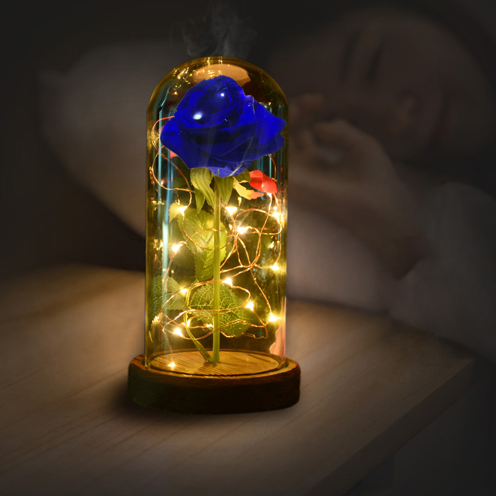 Romantic Natural Rose Flower 3years Preserved Blue Rose and Led Light with Fallen Petals In A
