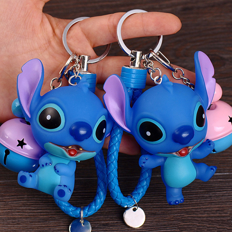 Film Series Lilo Stitch Cartoon Stitch Keychain Leather Rope Bell Toys Key Rings Car Bag Charms
