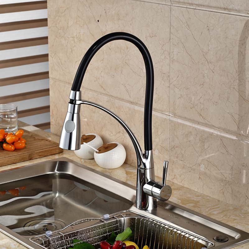 Polished Chrome One Handle/hole Brass Kitchen Sink Faucet Deck Mount with Hot Cold Mixer Taps deck mount single handle kitchen faucet one handle chrome brass kitchen sink mixer tap dual sprayer functions