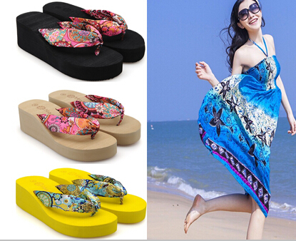 2014 Summer bohemia flower flip flops platform wedges women sandals slippers beach shoes qty-777 - Taste of ark store