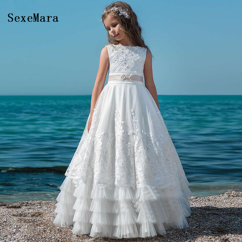Pretty Princess White First Communion Dress For Girls Lace Flower Girl Dresses For Weddings Vestido Daminha 2019 Pageant Gown 2017 pretty pink first communion dress with bow puffy flower girl dresses girl pageant gown vestido de primera comunion