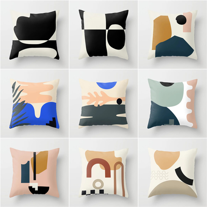 Abstract Geometric Pillow Cover New Pin Single-sided Printing Cushion Cover Polyester Sofa Deco Pillowcase Car Seat Pillow Cover