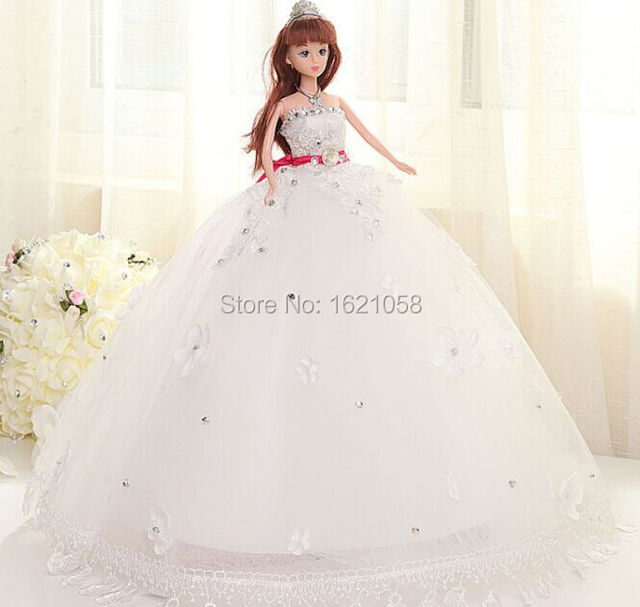 2015 Top Quality Handmade New Glitter Gemstone Cartoon Bride Doll in Trailing  Wedding Dress 6 Joints Moveable Fashion Gift 2b9276cd175a