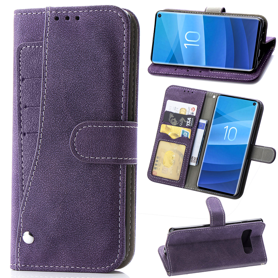 Matte Leather Wallet Flip Case For Samsung Galaxy S10 S10e S9 S8 Plus S7 Edge Note 8 9 Rotate Multi-card Slot With Photo Frame