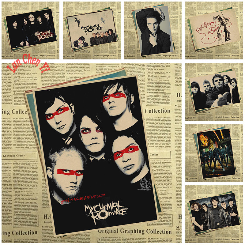 My Chemical Romance Band Classic Nostalgic Matte Kraft Paper Poster Office Gift Room Dining Home Decor wall sticker Design