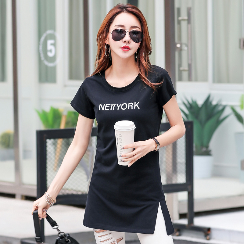 9ab4640cc78 Plus Size Women Summer Fashion Side Slit T shirt NEW YORK Print T shirt  Women Long Style Tops Short Sleeve O Neck Simple T shirt-in T-Shirts from  Women s ...