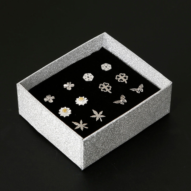 Newest 925 Sterling Silver Women's Jewelry Fashion Cute Tiny Stud Earrings with Jewelry Box Gift for School Girls Kids Lady
