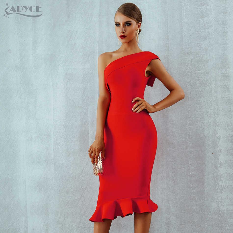 Adyce 2019 новое летнее женское Бандажное платье Vestidos на одно плечо, без рукавов с оборками, платье для ночного клуба, вечернее платье знаменитостей