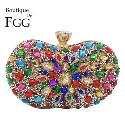 Boutique De FGG Coloridos Mulheres de Diamante Sacos de Noite de Embreagem Bolsas Bolsas de Flor De Cristal De Noiva Festa de Casamento Jantar Saco