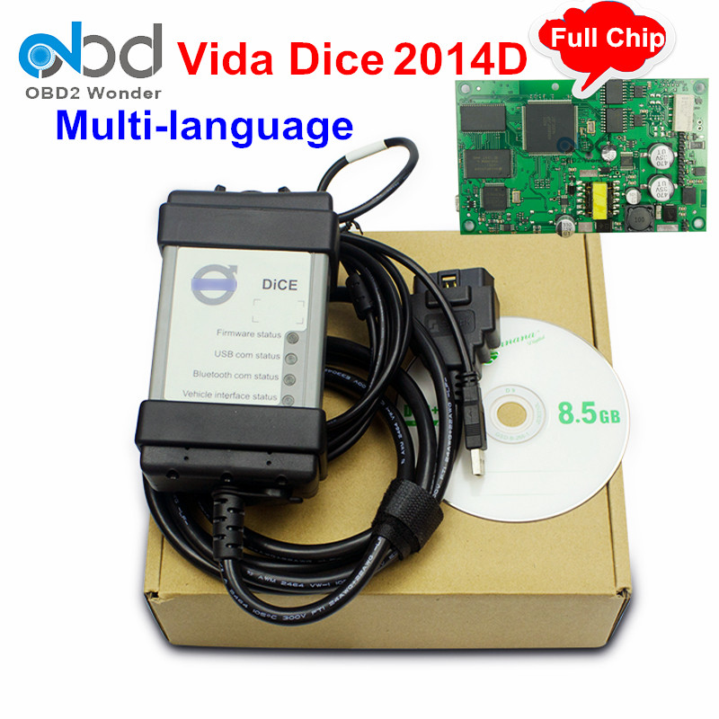 2017 New For Volvo Dice 2014D Full Chip Car Diagnostic Tool With Multi-language For Volvo Vida Dice Scanner Fast Shipping