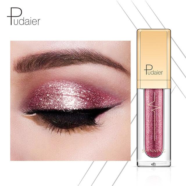Pudaier 18 colores sombra de ojos brillo sombras ahumadas sombra de ojos Pallete líquido impermeable brillo sombras de ojos cosméticos maquillaje