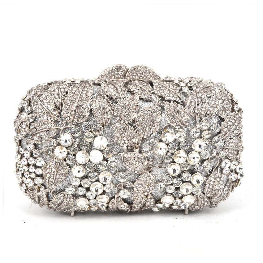 silver Women Rhinestone Evening Bag white Crystal Studded Diamante Designer Clutches Evening Party Purse Ladies Clutch Bag rhinestone flower embroidered evening bag