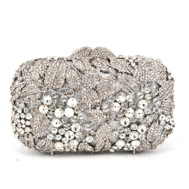 Silver Women Rhinestone Evening Bag White Crystal Studded Diamante Designer Clutches Party Purse Las Clutch