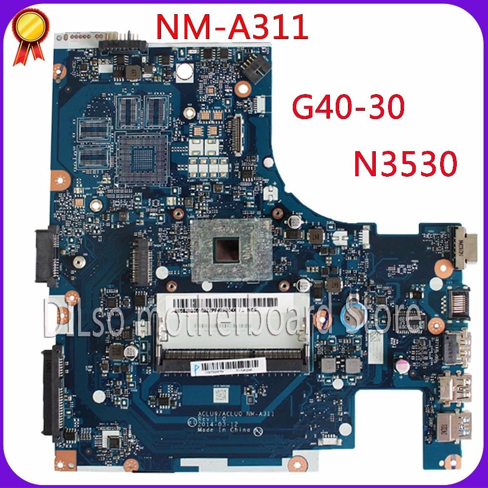 KEFU ACLU9 / ACLU0 NM-A311 motherboard For Lenovo G40 G40-30 Laptop Motherboard  tested motherboard DDR3 with N3530 CPU Onboard kefu q5wv8 la 8331p motherboard for acer aspire v3 551g laptop motherboard original tested v3 551 motherboard