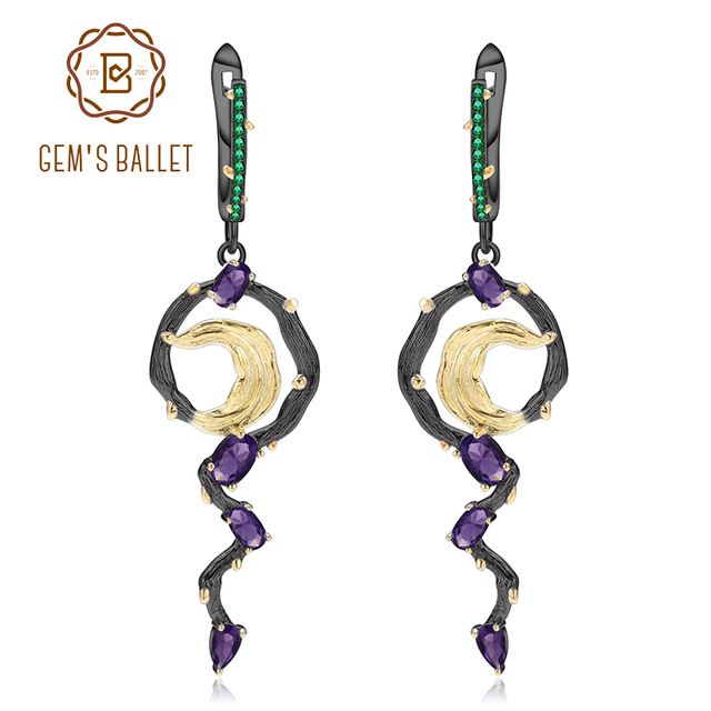 GEM'S BALLET 2.36Ct Natural Amethyst 925 Sterling Silver Handmade Statement Vintage Drop Earrings For Women Fine Jewelry