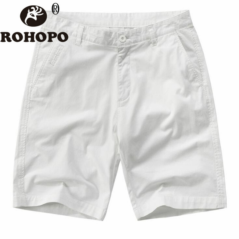 100% Cotton White Mid Waist Shorts Male Summer Travel Beach Style Casual Shorts Male Work Out Door Cotton Casual Shorts 2019 42