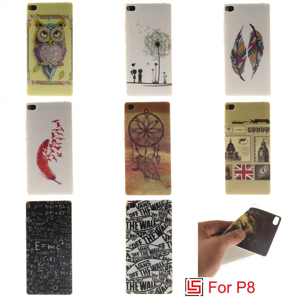 Cheap Fashion Ultra Thin TPU Silicone Soft Phone Mobile Cell Case kryty coque Cover For Huawei P8 Flower Dandelion Lion Feather