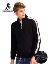 Pioneer Camp Patchwork Zipper hoodies ผู้ชายเสื้อผ้าหนาขนแกะฤดูใบไม้ร่วงฤดูหนาวชายเสื้อกันหนาวผ้าฝ้าย AWY702304