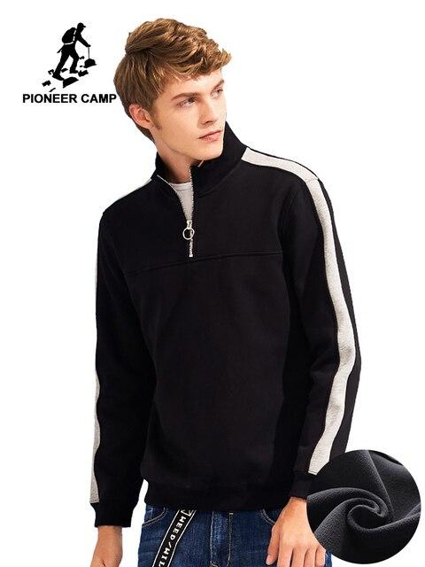Pioneer camp retalhos zíper hoodies homens marca roupas de lã grossa outono inverno moletom masculino qualidade algodão awy702304